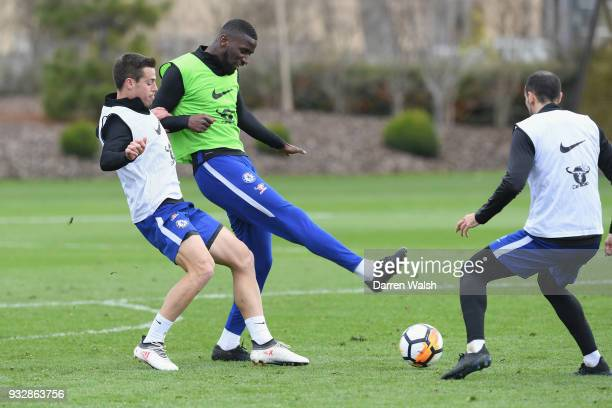 Cesar Azpilicueta and Antonio Rudiger of Chelsea during a training session at Chelsea Training Ground on March 16 2018 in Cobham United Kingdom