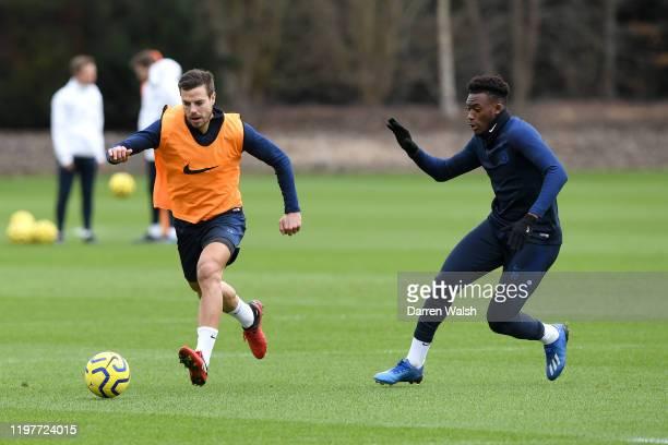 Cesar Azpilicueta and Callum HudsonOdoi of Chelsea during a training session at Chelsea Training Ground on January 31 2020 in Cobham United Kingdom