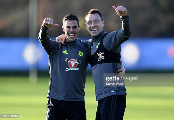 Cesar Azpilicueta and John Terry of Chelsea during a training session at Chelsea Training Ground on January 17, 2017 in Cobham, England.