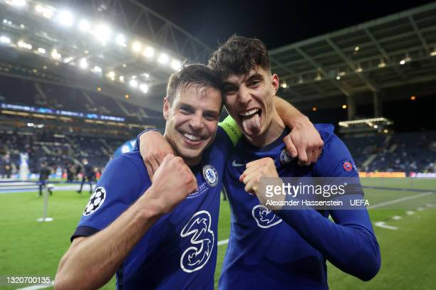 Cesar Azpilicueta and Kai Havertz of Chelsea celebrate victory in the UEFA Champions League Final between Manchester City and Chelsea FC at Estadio...