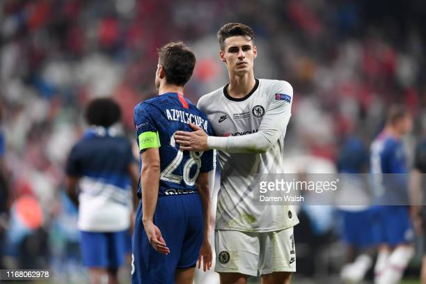 Cesar Azpilicueta and Kepa Arrizabalaga of Chelsea react following defeat in the penalty shoot out following the UEFA Super Cup match between...