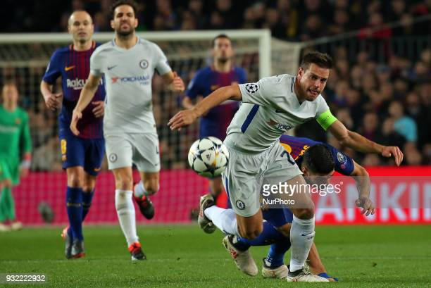 Cesar Azpilicueta and Luis Suarez during the match between FC Barcelona and Chelsea FC for the secong leg of the 1/8 final of the UEFa Champions...