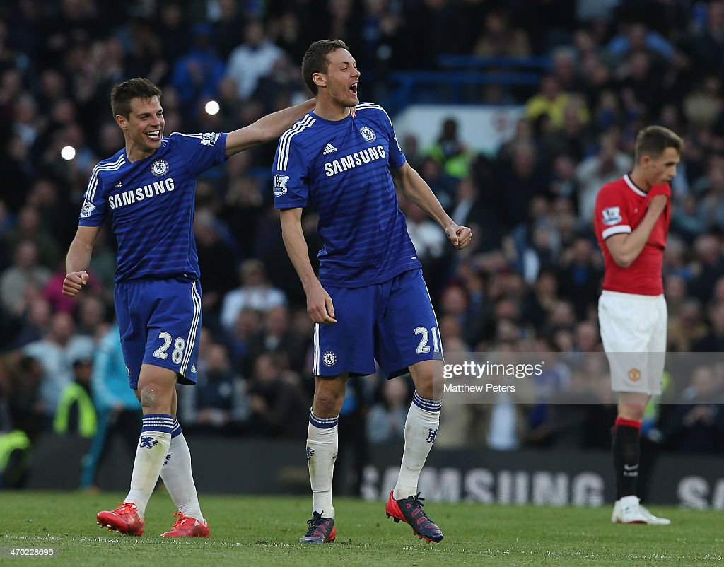 Cesar Azpilicueta and Nemanja Matic of Chelsea celebrate after the Barclays Premier League match between Chelsea and Manchester United at Stamford Bridge on April 18, 2015 in London, England.