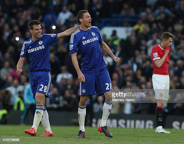 Cesar Azpilicueta and Nemanja Matic of Chelsea celebrate after the Barclays Premier League match between Chelsea and Manchester United at Stamford...