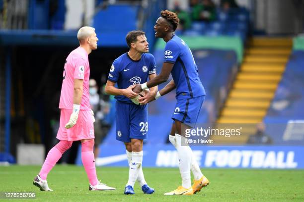 Cesar Azpilicueta and Tammy Abraham of Chelsea argue over the ball during the Premier League match between Chelsea and Crystal Palace at Stamford...