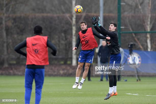 Cesar Azpilicueta and Thibaut Courtois of Chelsea during a training session at Chelsea Training Ground on February 22 2018 in Cobham United Kingdom