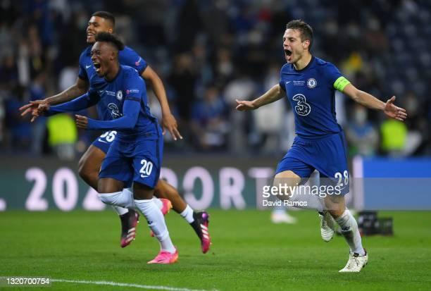 Cesar Azpilicueta, Callum Hudson-Odoi and Faustino Anjorin of Chelsea celebrate following victory during the UEFA Champions League Final between...
