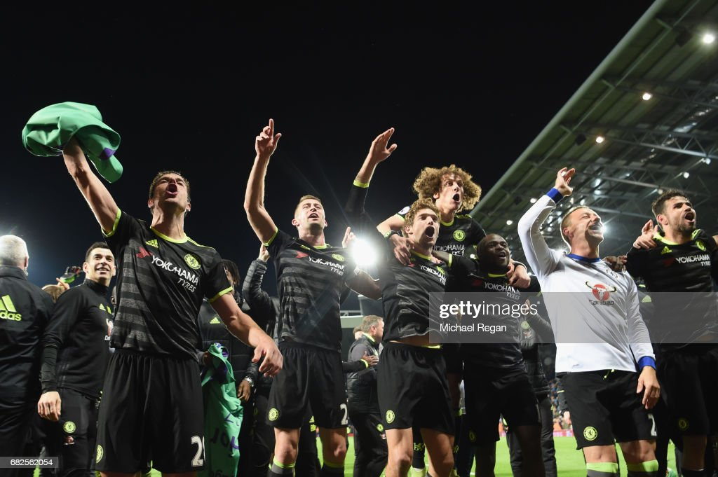 Cesar Azpilicueta, Gary Cahill, Marcos Alonso, Victor Moses, David Luiz and John Terry of Chelsea celebrate winning the league after the Premier League match between West Bromwich Albion and Chelsea at The Hawthorns on May 12, 2017 in West Bromwich, England. Chelsea are crowned champions after a 1-0 victory against West Bromwich Albion. Restrictions