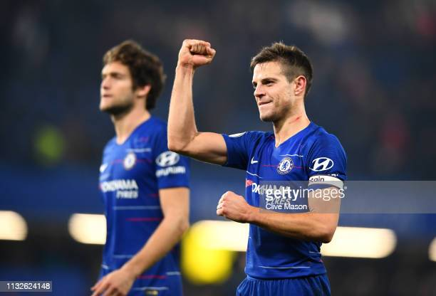 Cesar Azpilicueta of Chelsea acknowledges the fans after the Premier League match between Chelsea FC and Tottenham Hotspur at Stamford Bridge on...