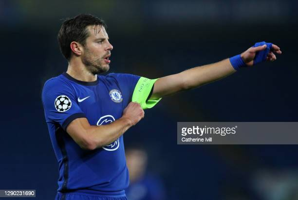 Cesar Azpilicueta of Chelsea adjusts the captains armband during the UEFA Champions League Group E stage match between Chelsea FC and FC Krasnodar at...