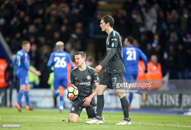 Cesar Azpilicueta of Chelsea after Jamie Vardy of Leicester City scored to make it 11 during The Emirates FA Cup Quarter Final tie between Leicester...