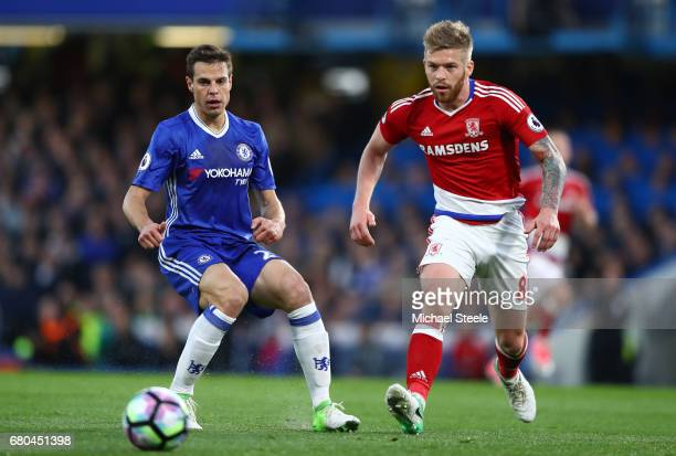 Cesar Azpilicueta of Chelsea and Adam Clayton of Middlesbrough in action during the Premier League match between Chelsea and Middlesbrough at...
