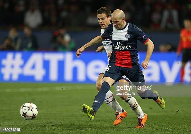Cesar Azpilicueta of Chelsea and Christophe Jallet of PSG in action during the UEFA Champions League quarter final match between Paris SaintGermain...