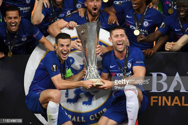 Cesar Azpilicueta of Chelsea and Gary Cahill of Chelsea celebrates with the Europa League Trophy following there team's victory in the UEFA Europa...