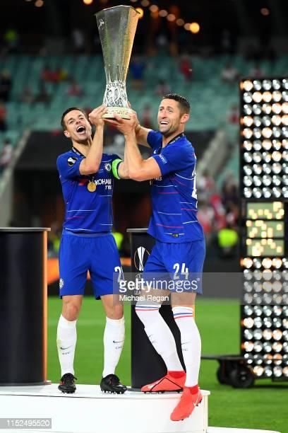 Cesar Azpilicueta of Chelsea and Gary Cahill of Chelsea lift the UEFA Europa League trophy during the UEFA Europa League Final between Chelsea and...