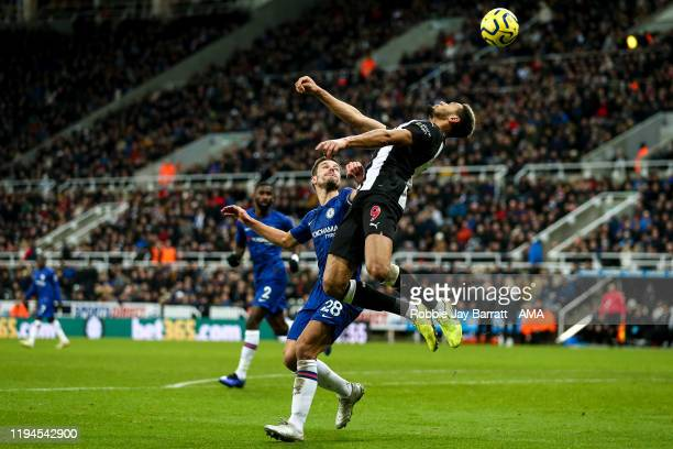 Cesar Azpilicueta of Chelsea and Joelinton of Newcastle United during the Premier League match between Newcastle United and Chelsea FC at St. James...