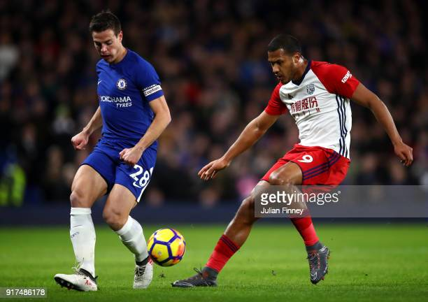 Cesar Azpilicueta of Chelsea and Jose Salomon Rondon of West Bromwich Albion during the Premier League match between Chelsea and West Bromwich Albion...
