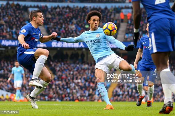 Cesar Azpilicueta of Chelsea and Leroy Sane of Manchester City during the Premier League match between Manchester City and Chelsea at Etihad Stadium...