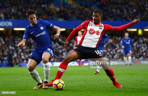Cesar Azpilicueta of Chelsea and Mario Lemina of Southampton battle for posession during the Premier League match between Chelsea and Southampton at...