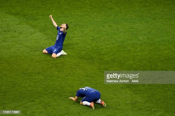 Cesar Azpilicueta of Chelsea and Mateo Kovacic of Chelsea celebrate at full time during the UEFA Champions League Final between Manchester City and...