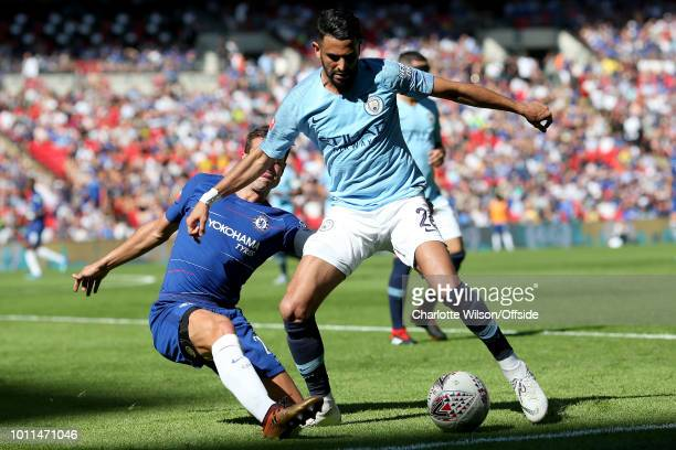 Cesar Azpilicueta of Chelsea and Riyad Mahrez of Man City battle for the ball during the FA Community Shield match between Manchester City and...