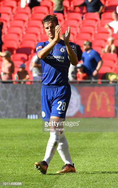 Cesar Azpilicueta of Chelsea applauds fans after the FA Community Shield between Manchester City and Chelsea at Wembley Stadium on August 5 2018 in...