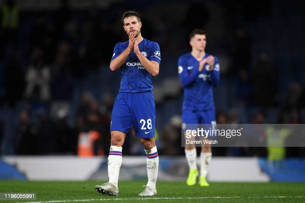 Cesar Azpilicueta of Chelsea applauds fans following defeat in the Premier League match between Chelsea FC and Southampton FC at Stamford Bridge on...