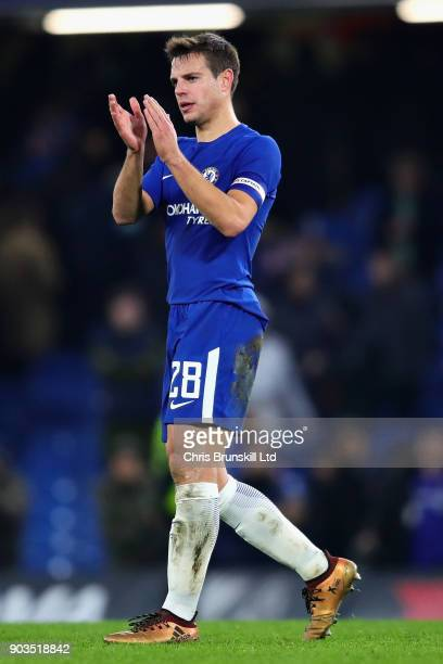 Cesar Azpilicueta of Chelsea applauds the crowd after the Carabao Cup SemiFinal First Leg match between Chelsea and Arsenal at Stamford Bridge on...