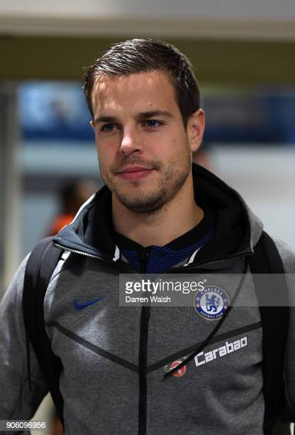 Cesar Azpilicueta of Chelsea arrives at the stadium prior to The Emirates FA Cup Third Round Replay between Chelsea and Norwich City at Stamford...
