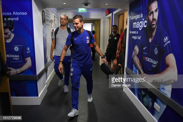 Cesar Azpilicueta of Chelsea arrives at the stadium prior to the preseason friendly match between Chelsea and Lyon at Stamford Bridge on August 7...