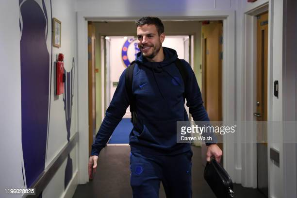 Cesar Azpilicueta of Chelsea arrives at the stadium prior to the Premier League match between Chelsea FC and Southampton FC at Stamford Bridge on...