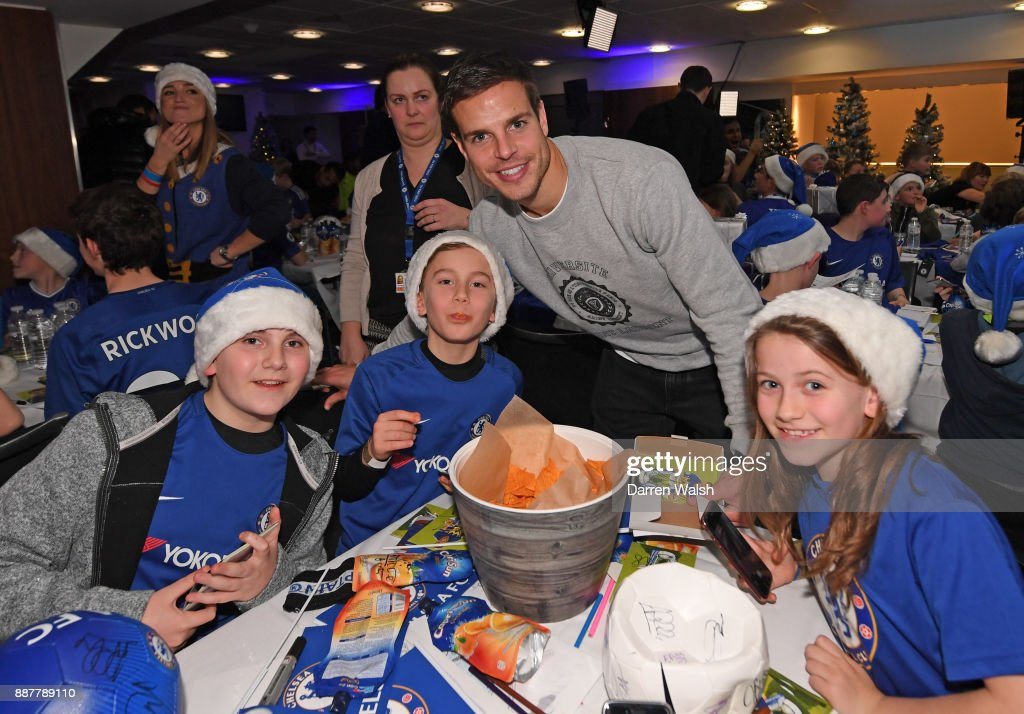 Cesar Azpilicueta of Chelsea at the Chelsea FC kids Christmas party December 7, 2017 in London, England.