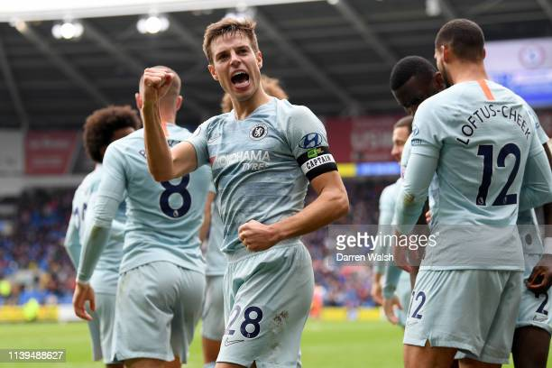 Cesar Azpilicueta of Chelsea celebrates after Ruben LoftusCheek of Chelsea scores his sides second goal during the Premier League match between...