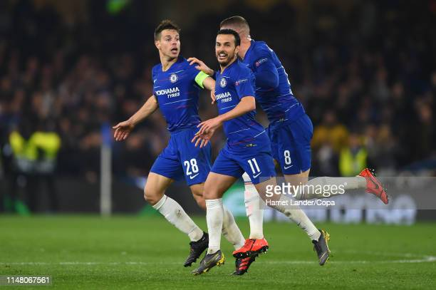 Cesar Azpilicueta of Chelsea celebrates after scoring a goal which is then disallowed during the UEFA Europa League Semi Final Second Leg match...