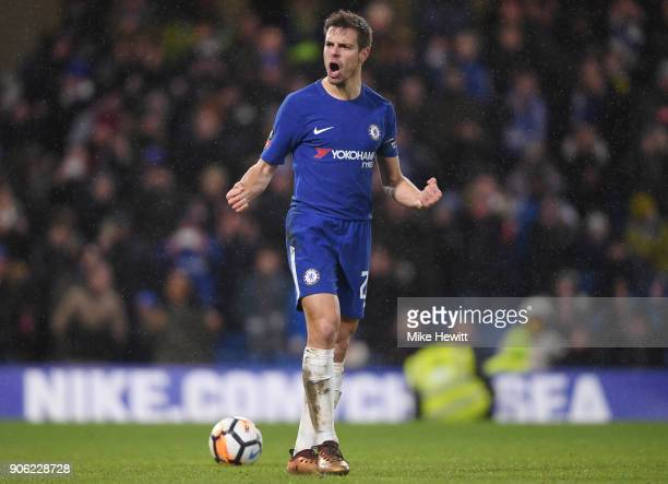 Cesar Azpilicueta of Chelsea celebrates after scoring his penalty during The Emirates FA Cup Third Round Replay between Chelsea and Norwich City at...