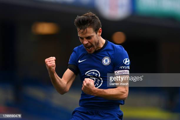 Cesar Azpilicueta of Chelsea celebrates after scoring their side's first goal during the Premier League match between Chelsea and Burnley at Stamford...
