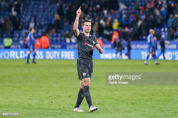 Cesar Azpilicueta of Chelsea celebrates after The Emirates FA Cup Quarter Final tie between Leicester City and Chelsea at King Power Stadium on March...