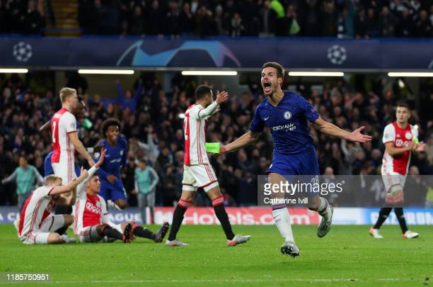 Cesar Azpilicueta of Chelsea celebrates scoring his sides fifth goal only for it to be disallowed during the UEFA Champions League group H match...