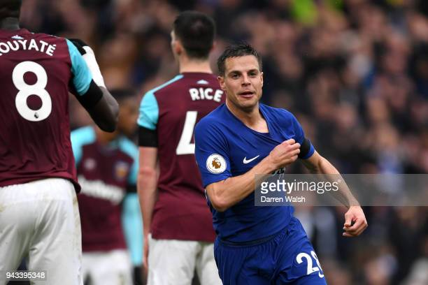 Cesar Azpilicueta of Chelsea celebrates scoring his sides first goal during the Premier League match between Chelsea and West Ham United at Stamford...