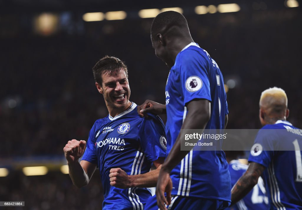 Cesar Azpilicueta of Chelsea celebrates scoring his sides second goal with Kurt Zouma of Chelsea during the Premier League match between Chelsea and Watford at Stamford Bridge on May 15, 2017 in London, England.