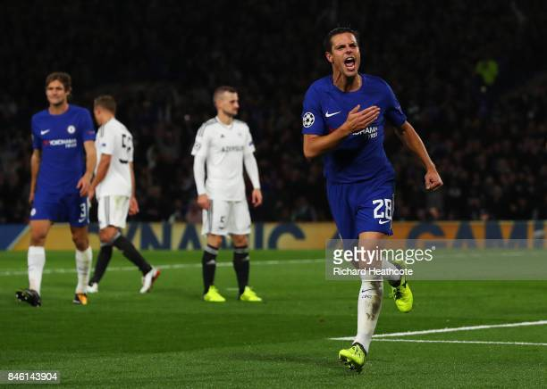 Cesar Azpilicueta of Chelsea celebrates scoring his sides third goal during the UEFA Champions League Group C match between Chelsea FC and Qarabag FK...