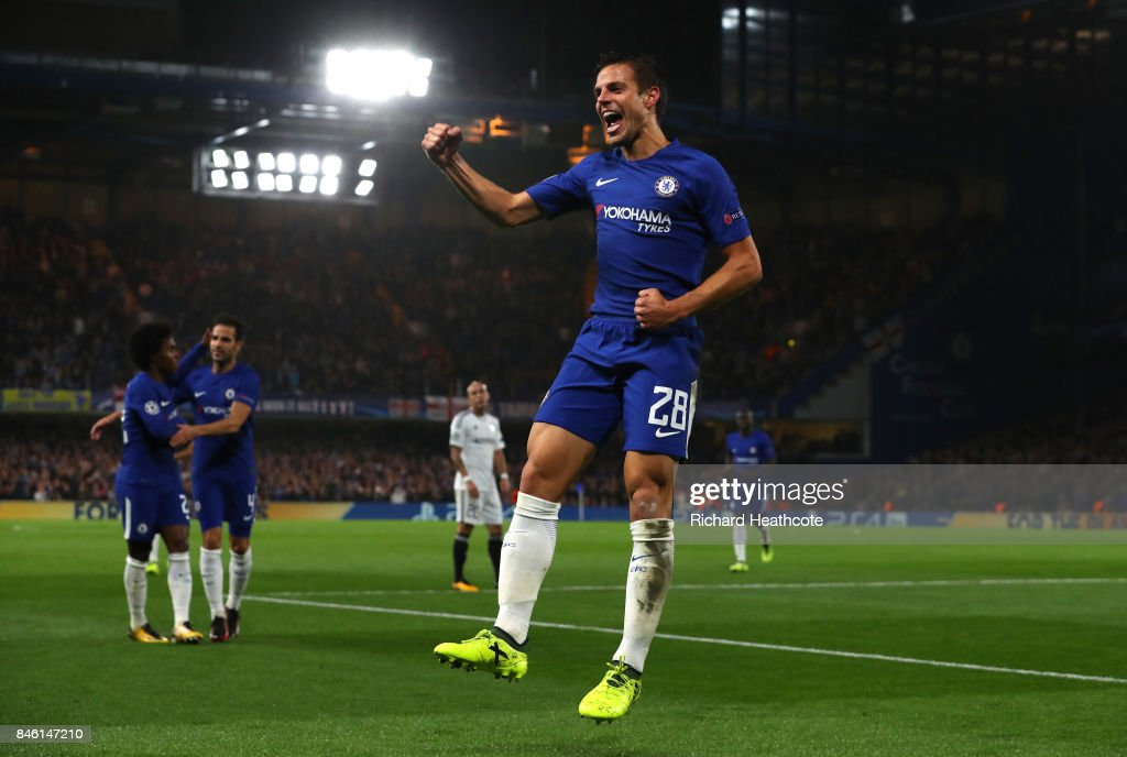 Cesar Azpilicueta of Chelsea celebrates scoring his sides third goal during the UEFA Champions League Group C match between Chelsea FC and Qarabag FK at Stamford Bridge on September 12, 2017 in London, United Kingdom.