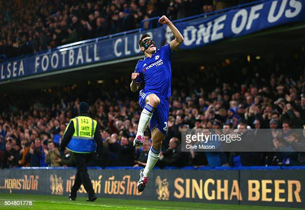 Cesar Azpilicueta of Chelsea celebrates scoring his team's first goal during the Barclays Premier League match between Chelsea and West Bromwich...