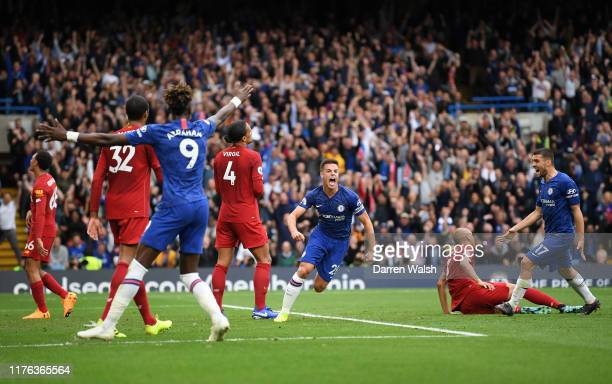 Cesar Azpilicueta of Chelsea celebrates scoring his teams opening goal which was later ruled out by VAR during the Premier League match between...