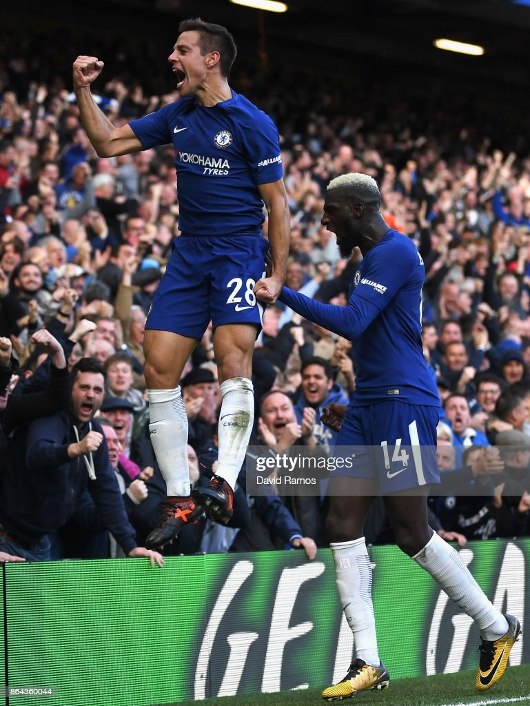 Cesar Azpilicueta of Chelsea celebrates scoring the 3rd Chelsea goal with Tiemoue Bakayoko of Chelsea during the Premier League match between Chelsea and Watford at Stamford Bridge on October 21, 2017 in London, England.