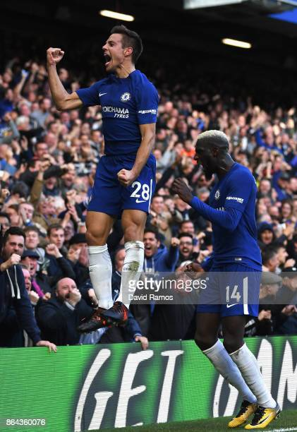 Cesar Azpilicueta of Chelsea celebrates scoring the 3rd Chelsea goal with Tiemoue Bakayoko of Chelsea during the Premier League match between Chelsea...