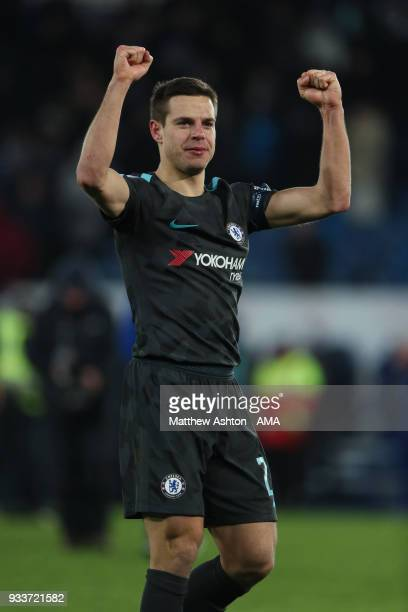 Cesar Azpilicueta of Chelsea celebrates victory during the FA Cup Quarter Final match between Leicester City and Chelsea at The King Power Stadium on...