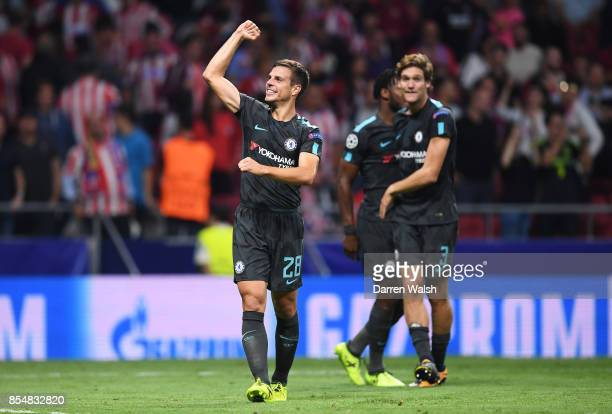 Cesar Azpilicueta of Chelsea celebrates victory during the UEFA Champions League group C match between Atletico Madrid and Chelsea FC at Estadio...