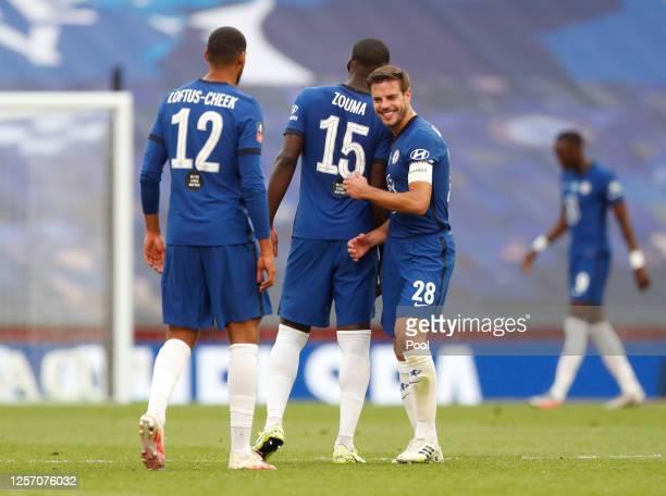 Cesar Azpilicueta of Chelsea celebrates with Ruben LoftusCheek of Chelsea and Kurt Zouma of Chelsea during the FA Cup Semi Final match between...