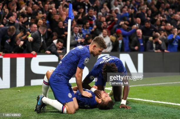 Cesar Azpilicueta of Chelsea celebrates with teammates after scoring his team's fifth goal which is later disallowed during the UEFA Champions League...